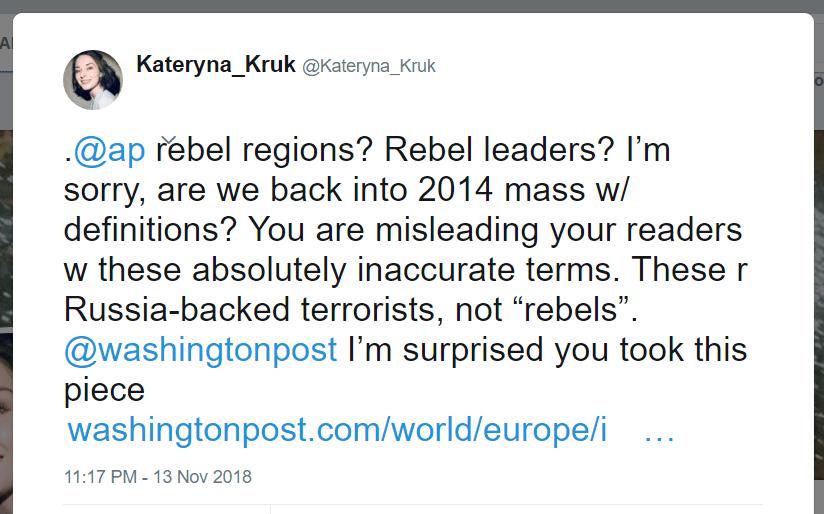 Kateryna Kruk Twitter AP Reuters terrorists rebels