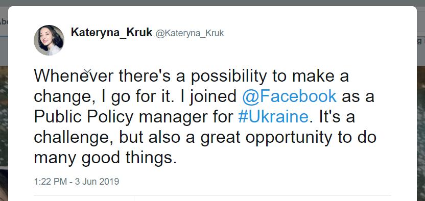 Kateryna Kruk Twitter Facebook manager