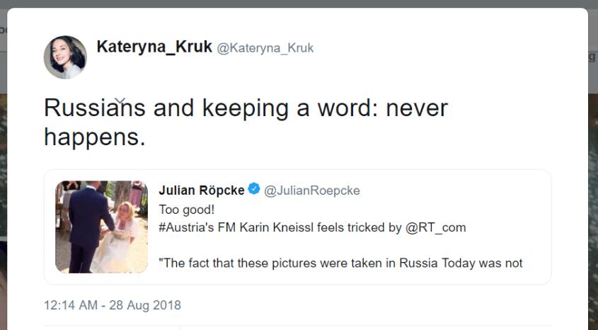 Kateryna Kruk Twitter Russians keeping word never