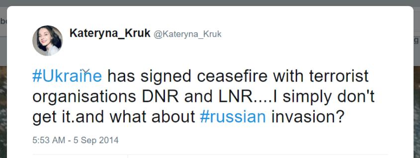 Kateryna Kruk Twitter Ukraine ceasefire terrorist