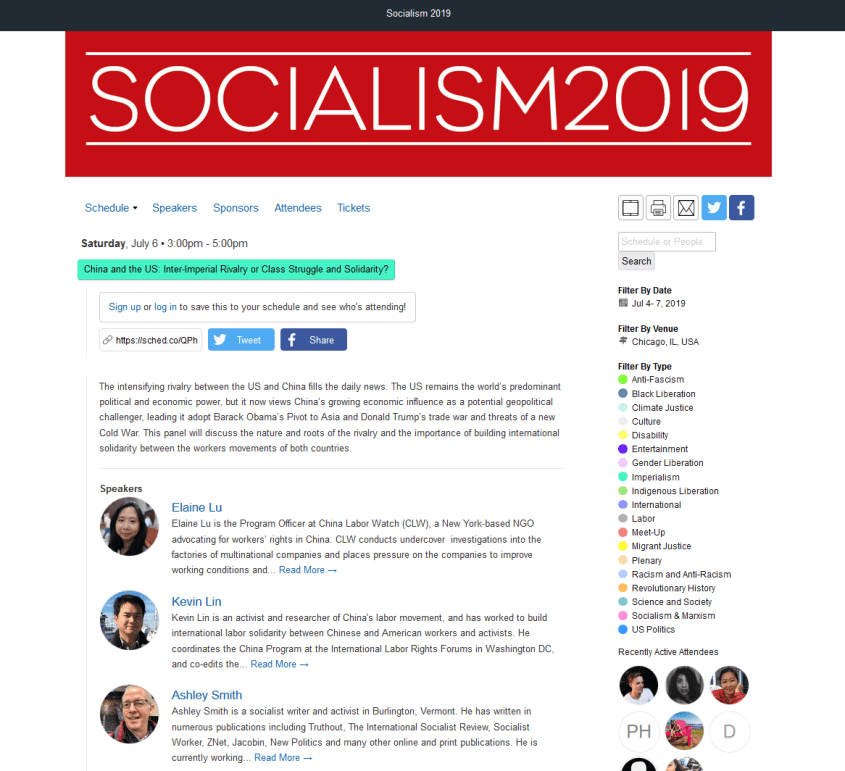 Socialism 2019 China US inter-imperial rivalry panel
