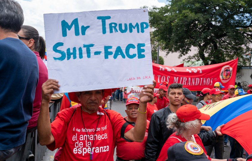 Venezuela no more Trump march shit face