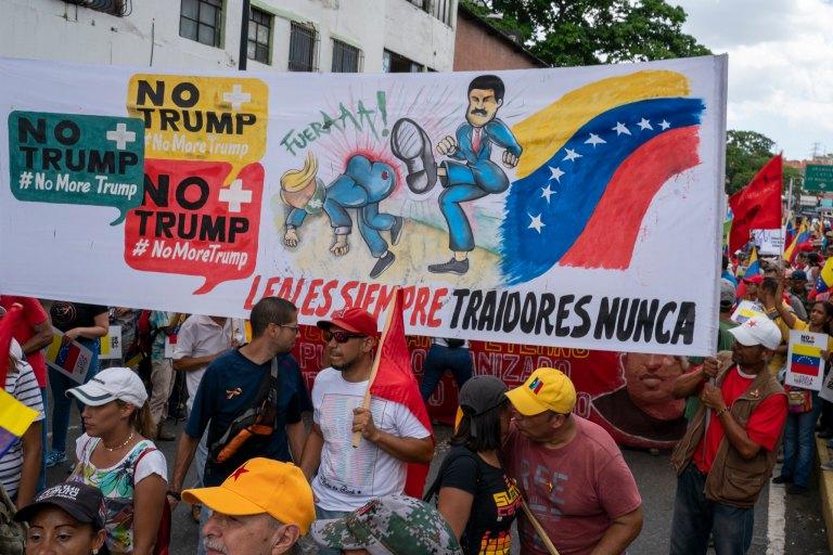 Venezuela no more Trump protest Maduro kicking