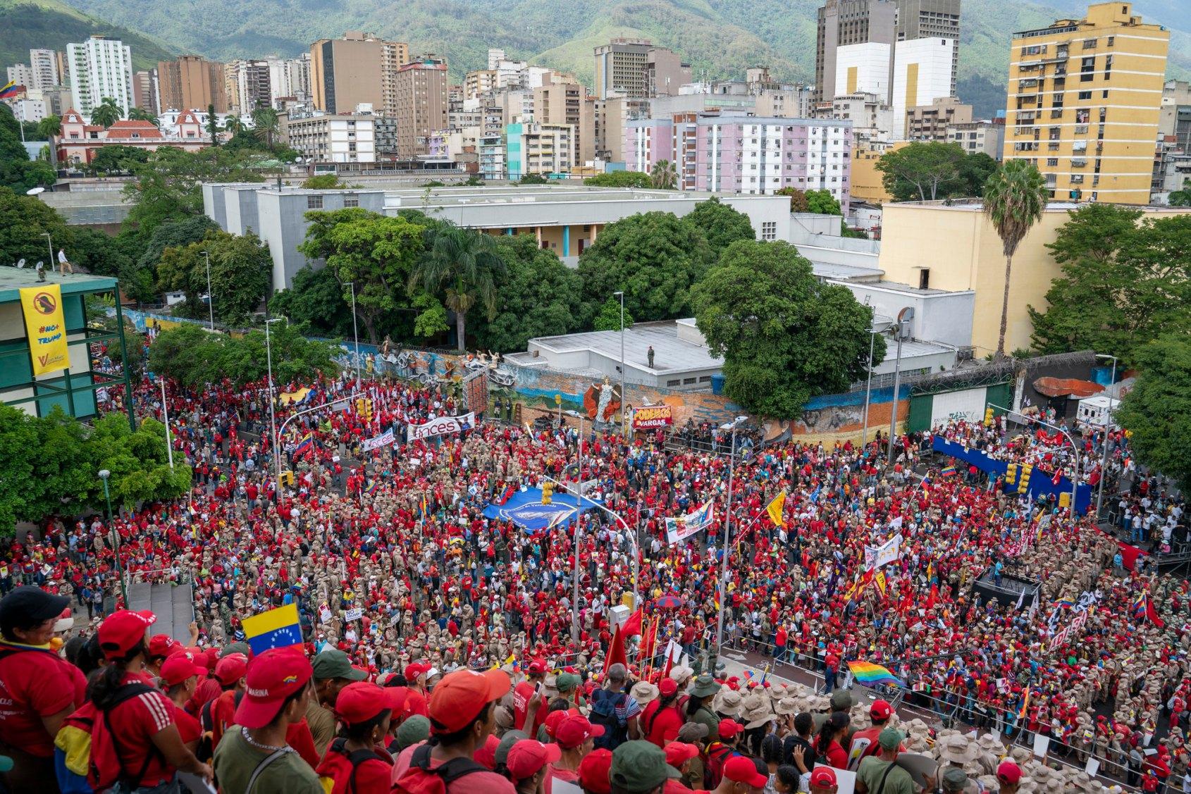 Venezuela no more Trump protest crowd stairs of El Calvario
