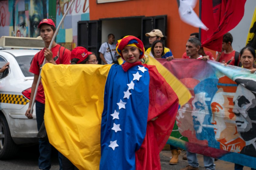 Venezuela no more Trump protest flag dress