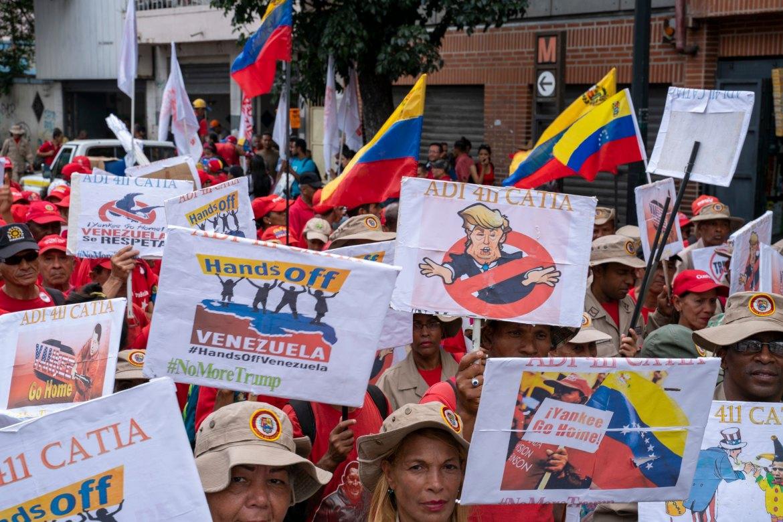 Venezuela no more Trump protest signs