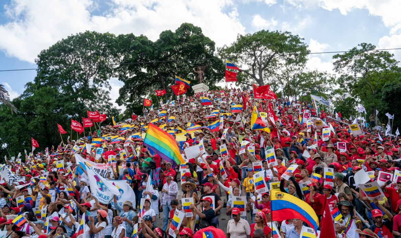 Venezuela no more Trump protest stairs of El Calvario