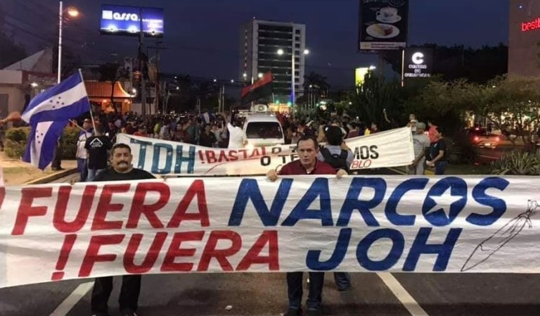 honduras protesta fuera narcos fuera joh