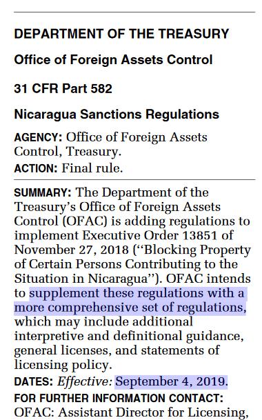 US Treasury Nicaragua sanctions September 2019
