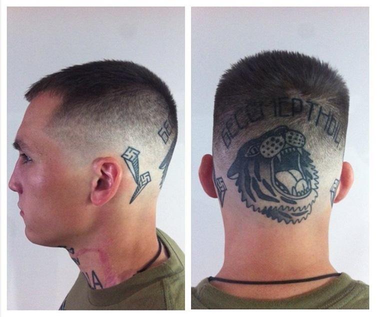 Ukrainian Nazi Maliar swastika tattoo ears