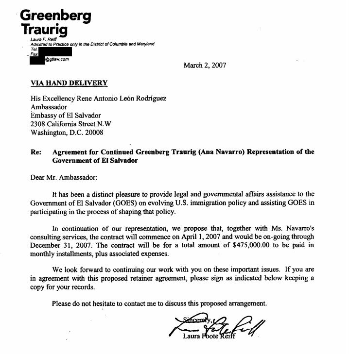 Greenberg Traurig Ana Navarro El Salvador lobbying FARA