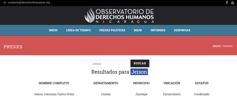 Observatorio de Derechos Humanos Nicaragua presos politicos Jeison Castro Ortez