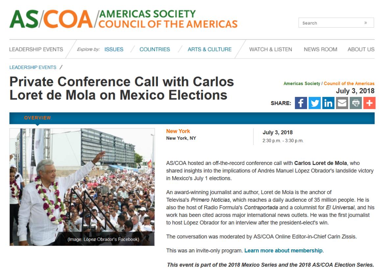 ASCOA AMLO call Carlos Loret de Mola