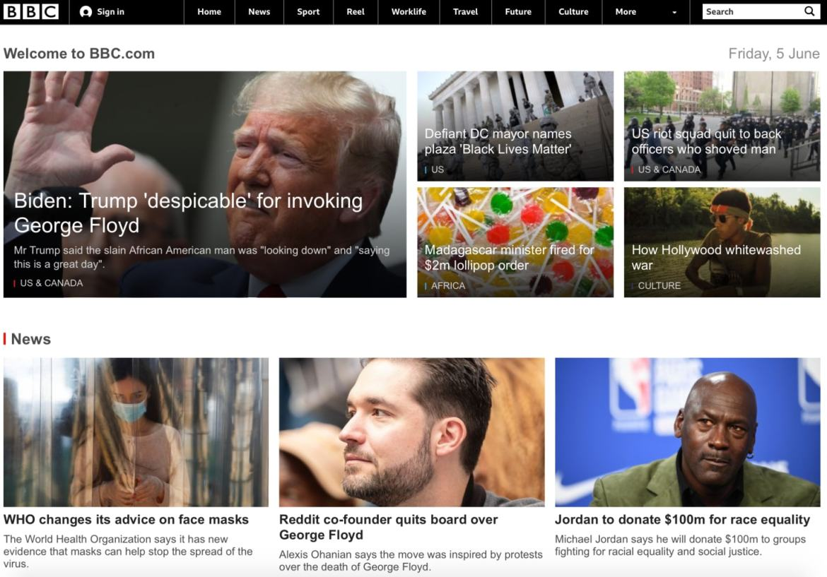 BBC front page George Floyd