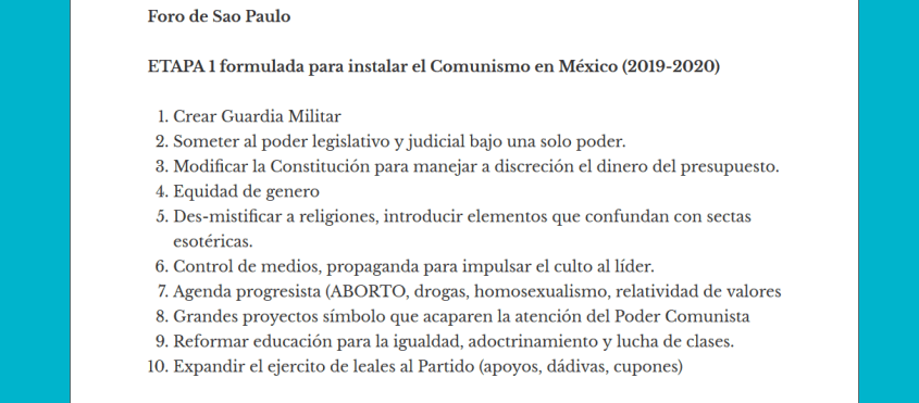 FRENA AMLO plan communism Mexico