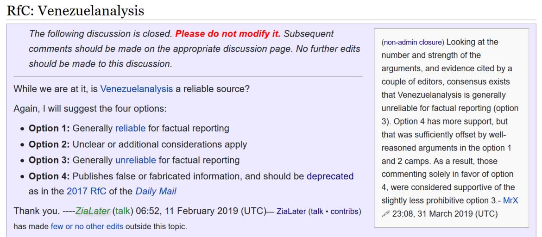 Wikipedia Venezuelanalysis unreliable