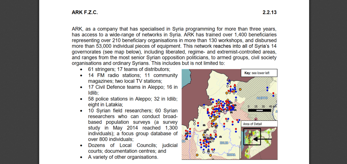 ARK UK contractor Syria media map
