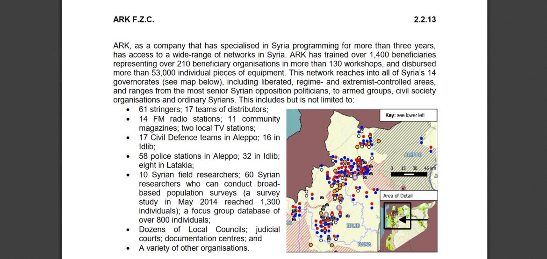 Medienkarte von ARK UK Auftragnehmer Syrien