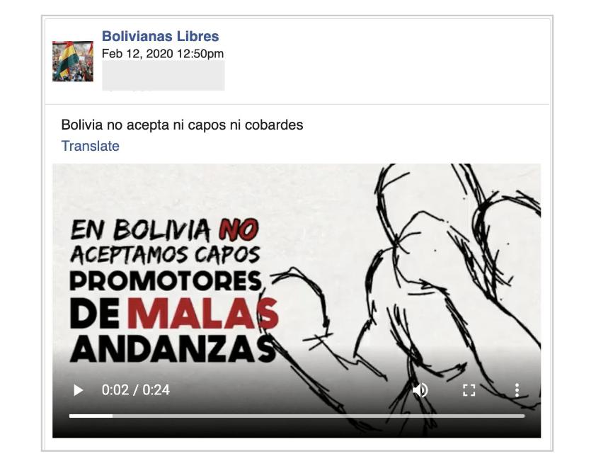 CLS Strategies Bolivia Facebook propaganda