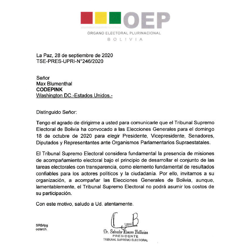 Bolivia Grayzone Max Blumenthal election observer invitation OEP