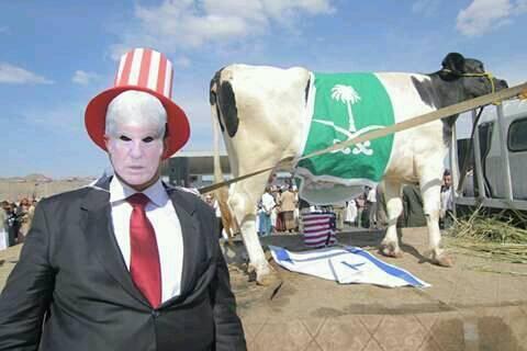 Yemen protest Trump US cow Saudi Israel