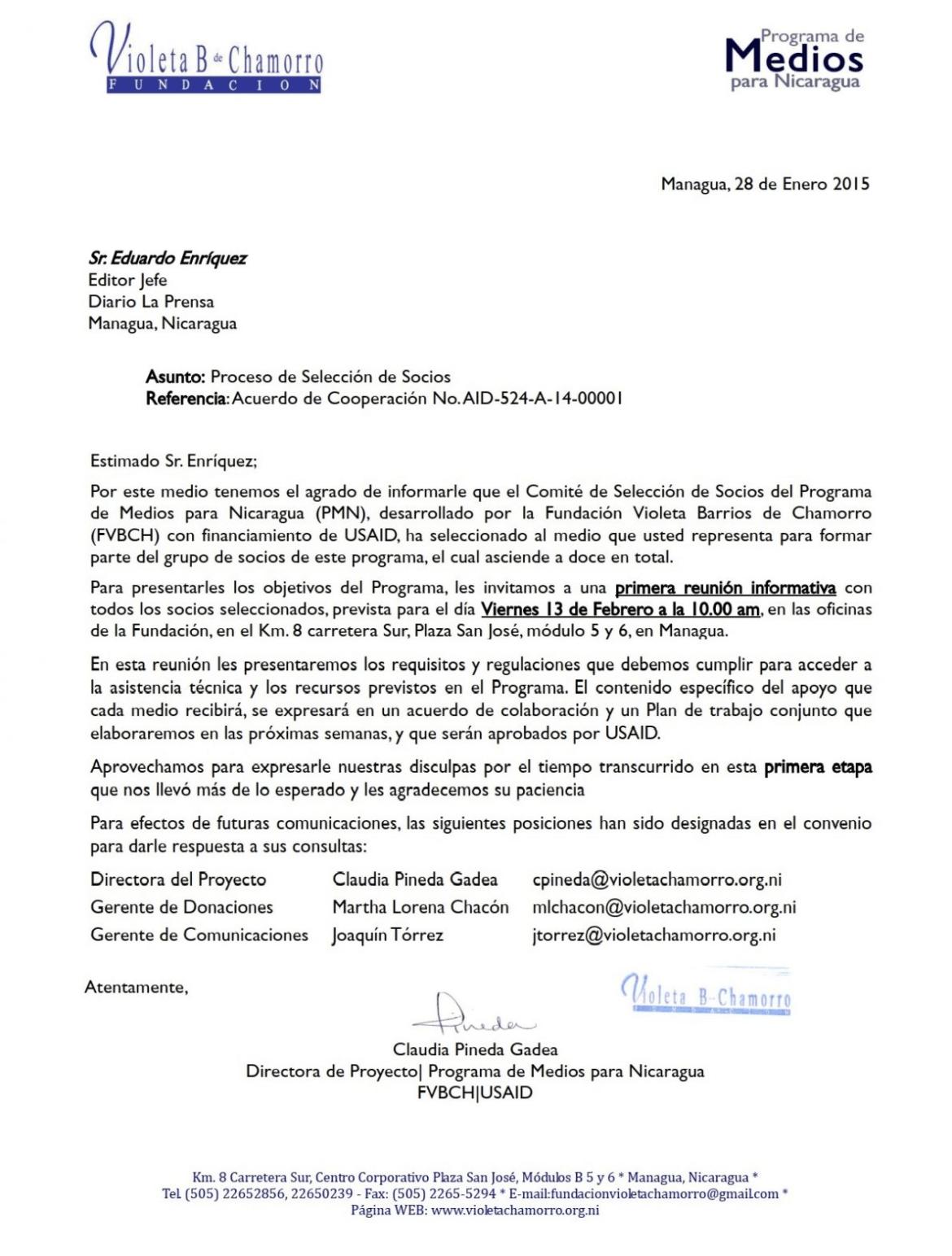 Fundación Chamorro USAID La Prensa