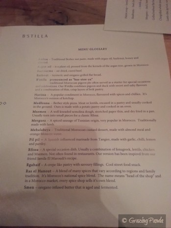 Glossary Menu at B'Stilla