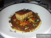 slow cooked otway ranges pork belly with peppers, capers + raisins, sauce 'agrodolce