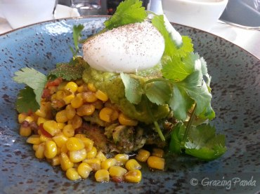 Broccoli, Almond & Chia Fritters with Grilled Corn Salsa, Coriander, Avocado & a Poached Egg