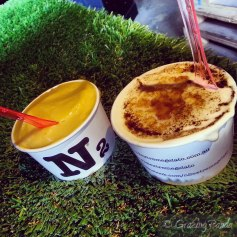 VOILA! Mango Sorbet and Creme Brulee!