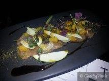 Kingfish sashimi with orange, pressed apple, jicama & burnt agave nectar