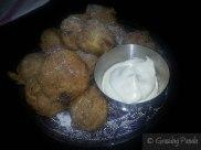 Croatian Doughnuts - Flavoured with Cinnamon, Nutmeg, Raisin, Vanilla and Served with Walnut Rakija Cream