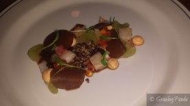 Black Kingfish Ceviche - Daikon, Dashi Dressing, Crunchy Quinoa, Finger Limes