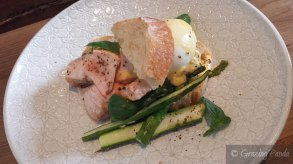 River Pig - Le hot-smoked salmon, pea pesto, asparagus, fresh chives, scram and lemon holli