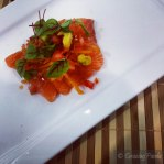 Palm Sugar Cured Atlantic Salmon with Fried Kumara, Petit Herb Salad