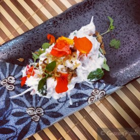 Mud Crab Coconut Salad with Chilli Lime Dressing, Crispy Rice Crackers