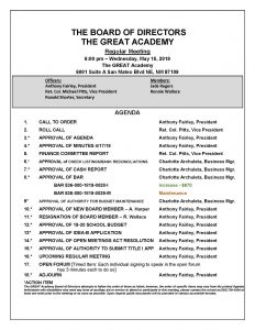 TGA Board of Directors Meeting Agenda 5/15/2019 » The