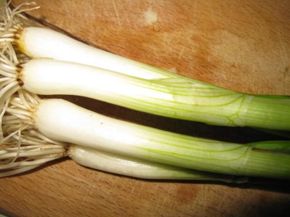 Млади црни лук исеците на колутове и бели и зелени део.
