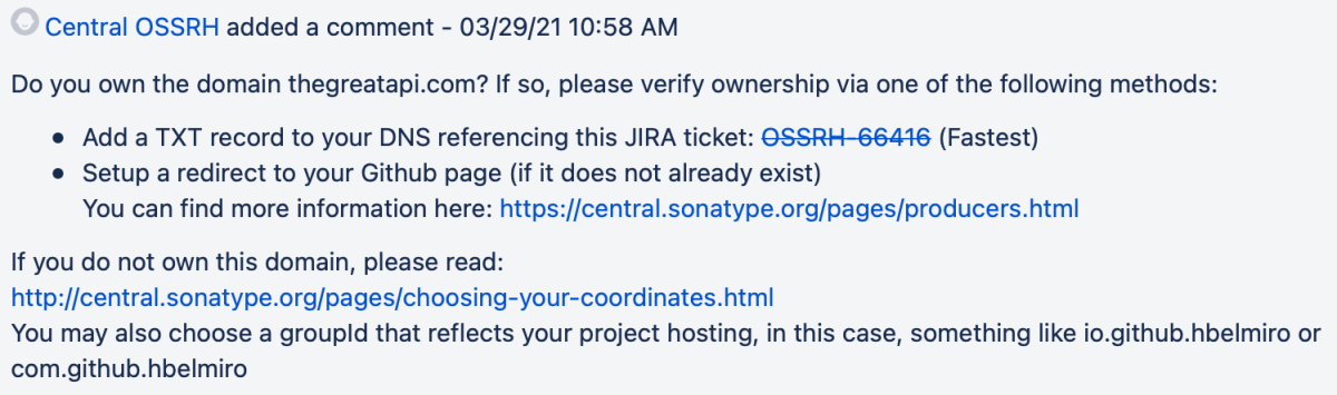Comment posted by Central OSSRH about the domain ownership.