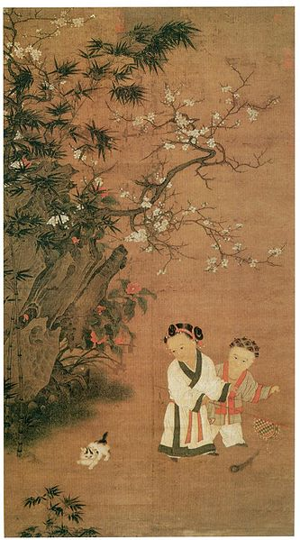 Children Playing on a Winter Day, Su Hanchen 1130-1160AD, cat in China
