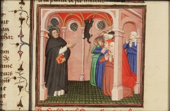 The Devil Appears to St. Dominico of Calerueja Folio 313 Le Miroir Historical 1400-1410, history of the cat in the middle ages