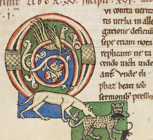 Decorated Cat Initial Moralia in Job Germany,12th Century f.56 V Harley 3053 , Cat in Middle Ages Manuscripts