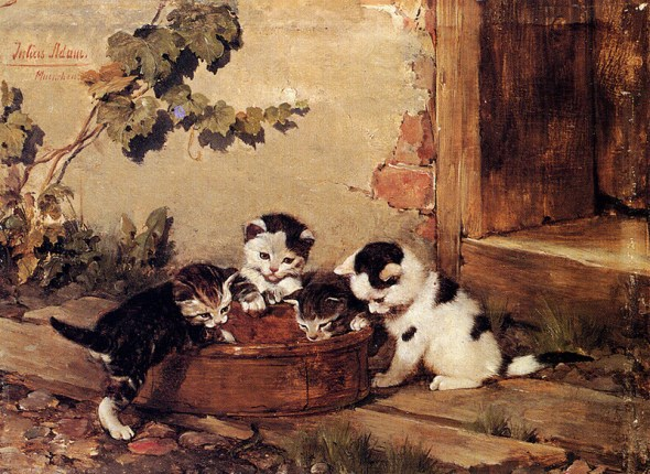 Four Kittens Julius Adam Private Collection cats in art