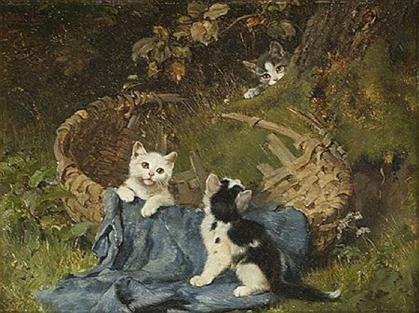 Kittens and Butterfly Julius Adam II 1887 15.24 X 20.32 cm Private Collection