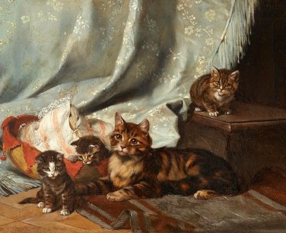 Cat and her Three Kittens Julius Adam II 1887