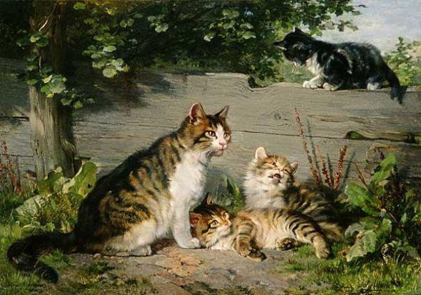 Mother Cat with Three Boys Julius Adam II