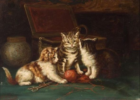 Kittens Julius Adam II Oil on Canvas 13.25 X 9.5 inches Private Collection