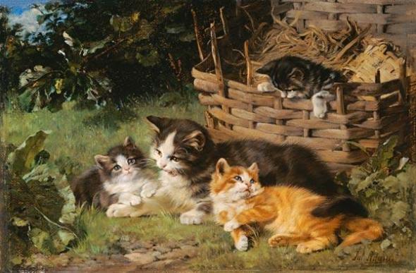Katzenmutter Mit Drei Jungen Julius Adam Private Collection