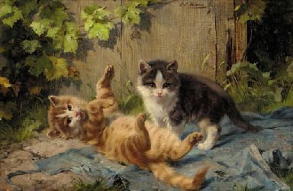 Kittens at Play Julius Adam II Oil on Canvas 24.2 X 35.1 cms Private Collection