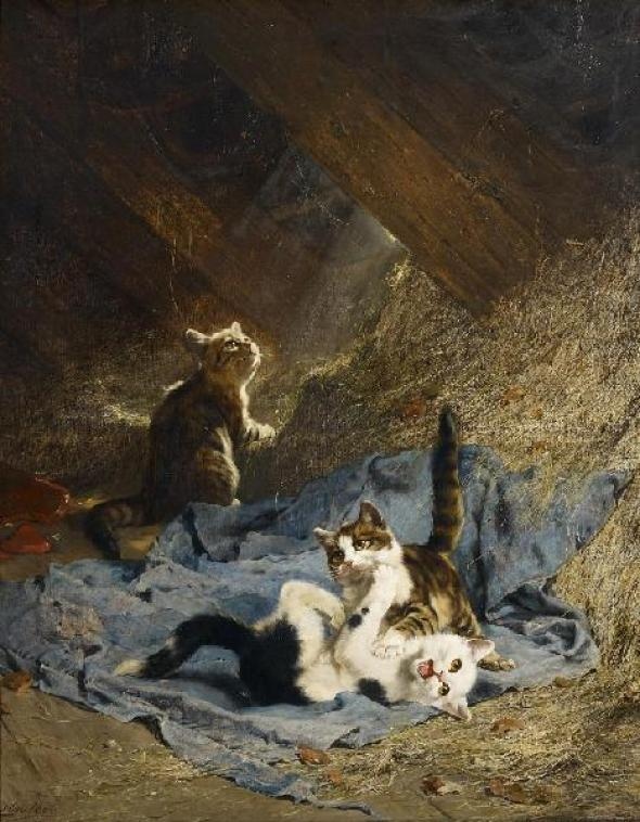 Spielende Kaetzchen auf dem Heuboden Julius Adam Private Collection